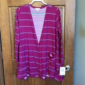 Lularoe Pink & Blue Stripe Caroline Cardigan NWT